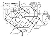 City map. Line scheme of roads. Town streets on the plan. Urban environment, architectural background. Vector