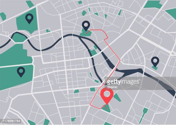 illustrazioni stock, clip art, cartoni animati e icone di tendenza di city map navigation - carta geografica
