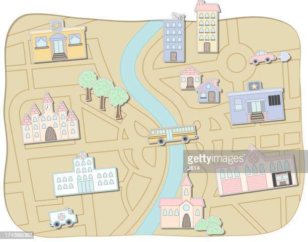 city map - child's drawing stock illustrations