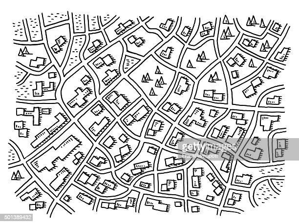 City Map View From Above Drawing