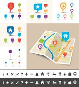 City map with GPS Icons and route.