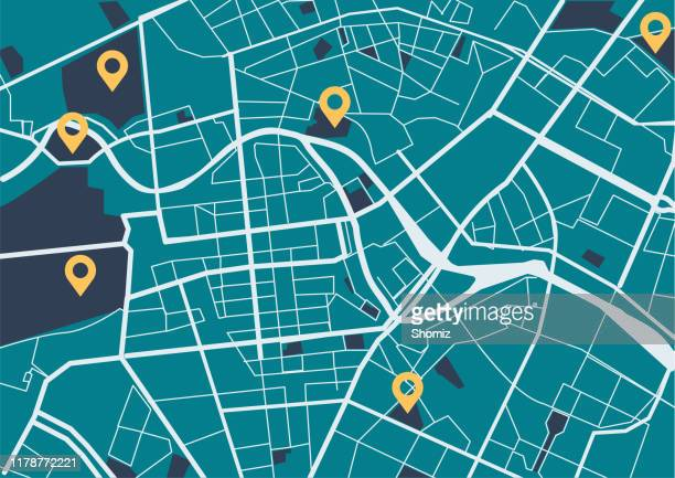 city map with navigation icons - generic location stock illustrations