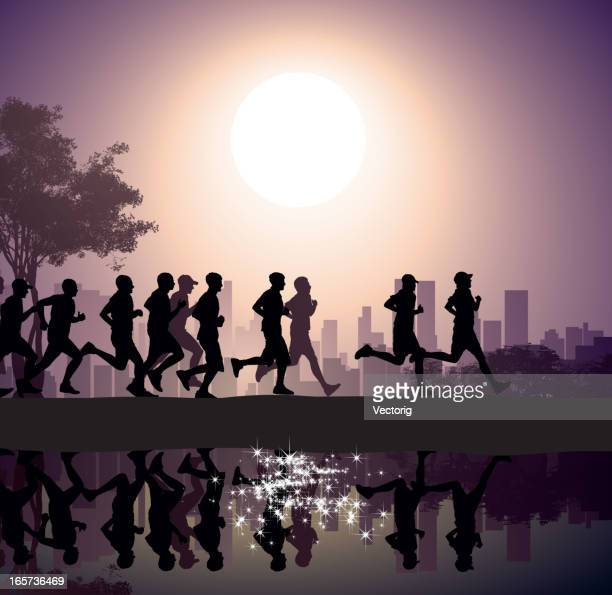 city marathon - jogging stock illustrations, clip art, cartoons, & icons