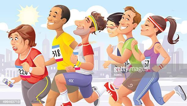 city marathon - fat female cartoon characters stock illustrations