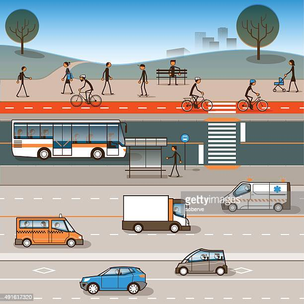 city mobility - pedestrian stock illustrations, clip art, cartoons, & icons
