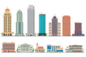 City modern buildings flat illustration isolated on white background. City landscape with skyscrapers. Offices, school, bank, church, club, motel, apartments. Vector eps 10.
