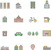 City multicolored icons set. Buildings, houses, trees, transport.