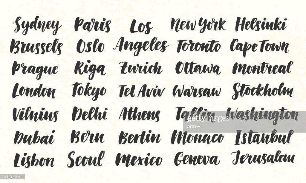 City Names Hand Written Brush Calligraphy Big Set