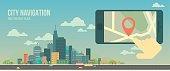 City navigation web banner. Flat illustration.