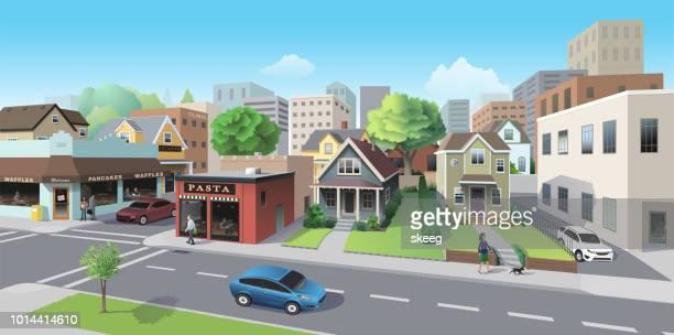 city neighborhood - road intersection stock illustrations