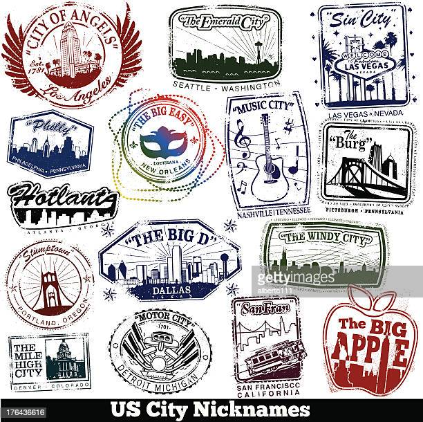 us city nickname stamps - atlanta stock illustrations, clip art, cartoons, & icons