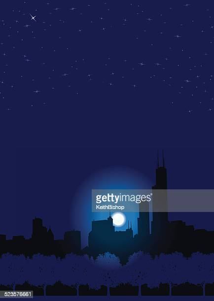city night background - chicago loop stock illustrations, clip art, cartoons, & icons