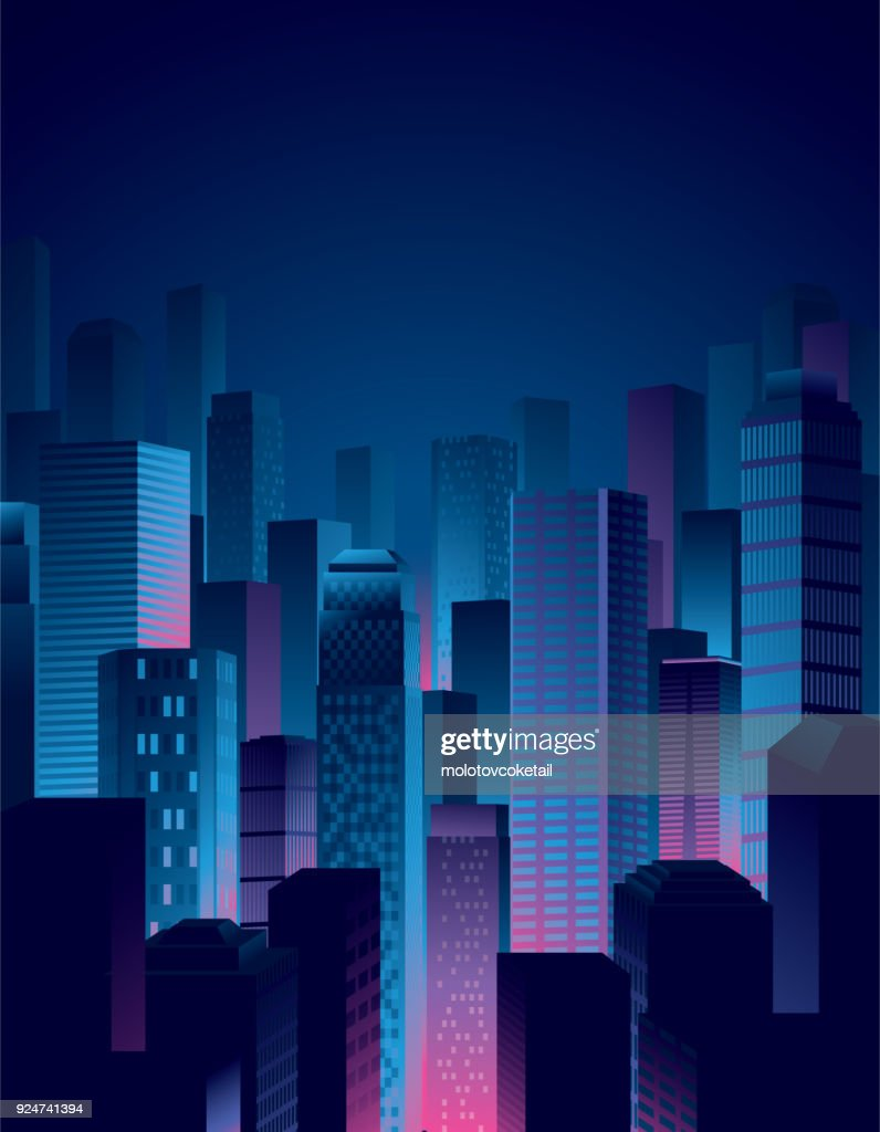 city night view in blue and pink colors : Stock Illustration