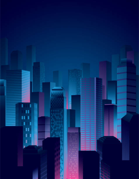 city night view in blue and pink colors - cool attitude stock illustrations
