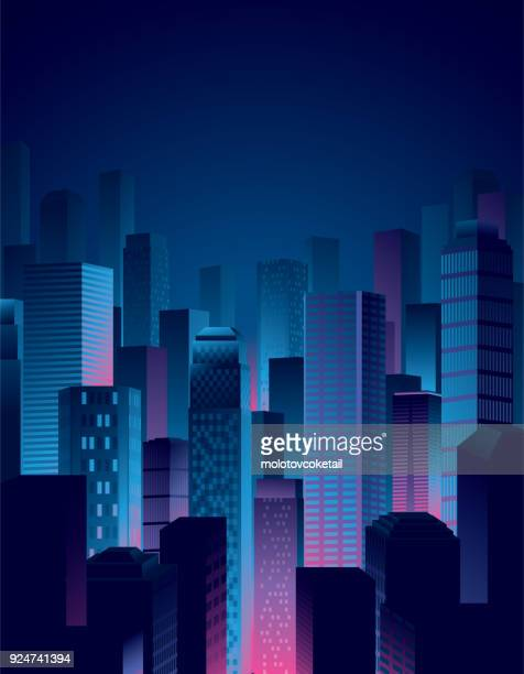 illustrazioni stock, clip art, cartoni animati e icone di tendenza di city night view in blue and pink colors - copy space
