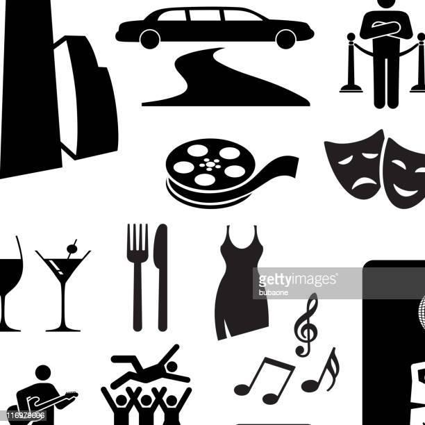 City nightlife fun black and white vector icon set