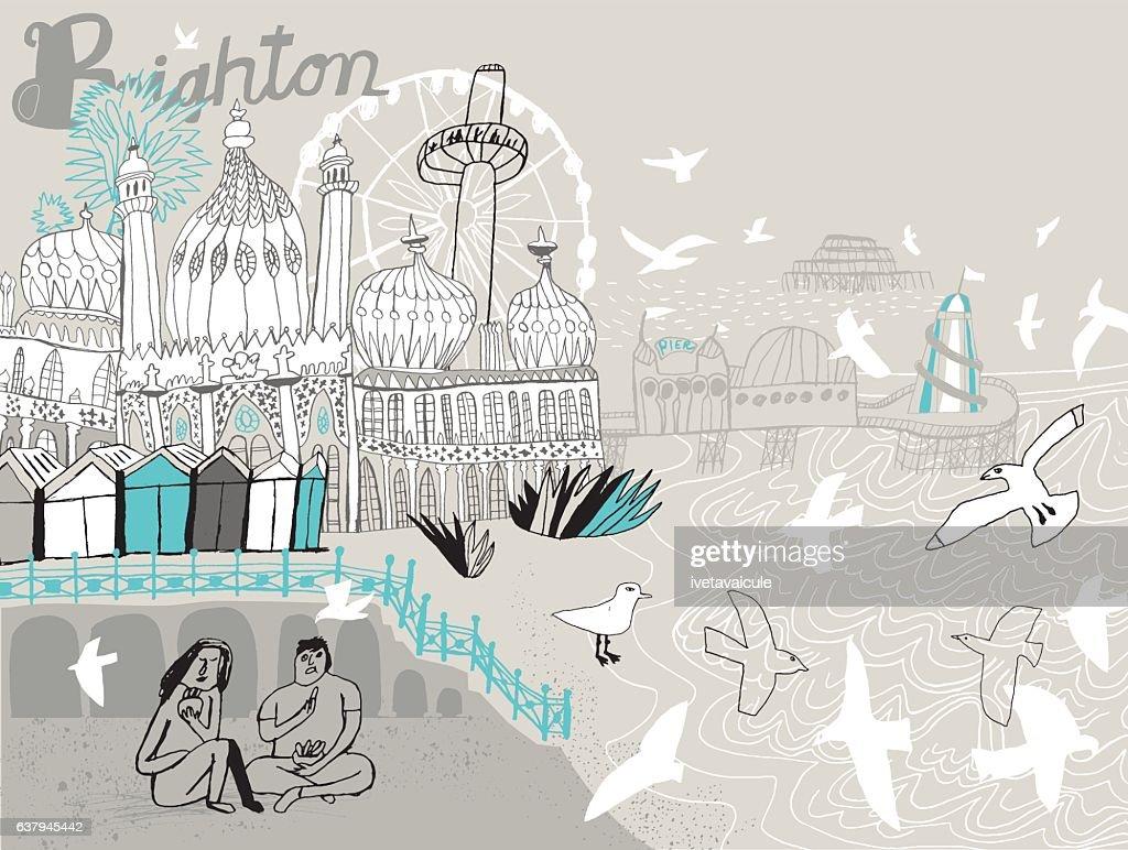 City of Brighton in England UK. Vector illustration