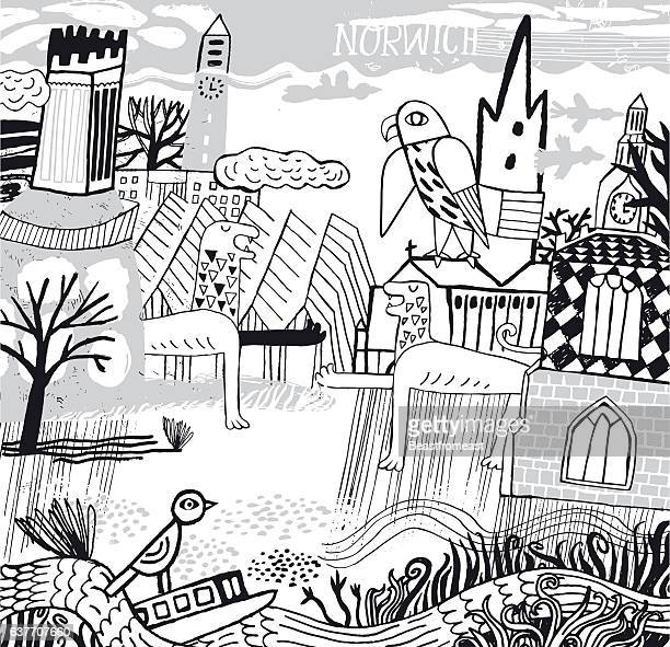 city of norwich in norfolk - peregrine falcon stock illustrations, clip art, cartoons, & icons