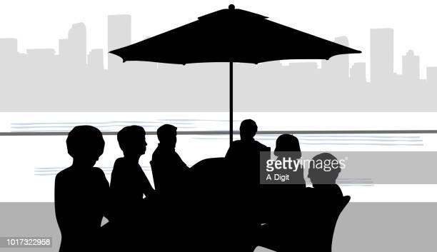 city on the lake dinner - promenade stock illustrations, clip art, cartoons, & icons