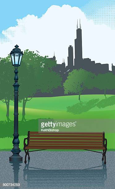 city park bench background - chicago loop stock illustrations, clip art, cartoons, & icons