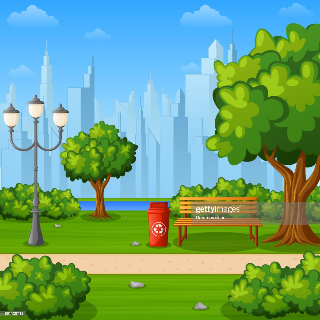 City park bench with trees and town buildings