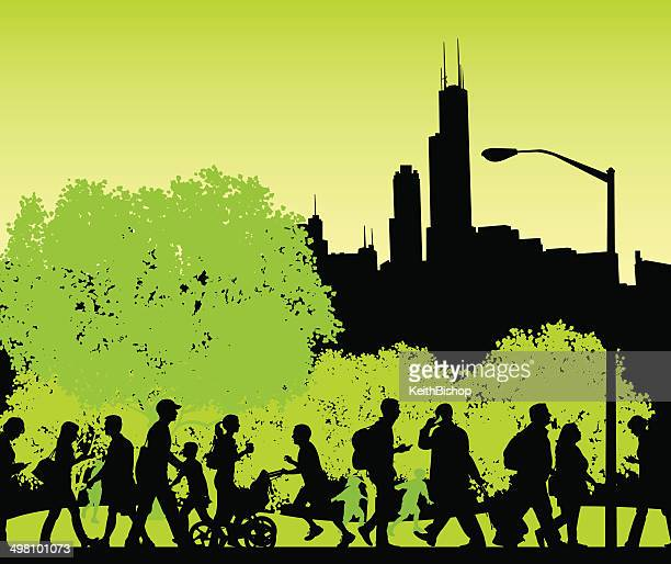 city park - busy people walking, fitness, lifestyle background - chicago loop stock illustrations, clip art, cartoons, & icons