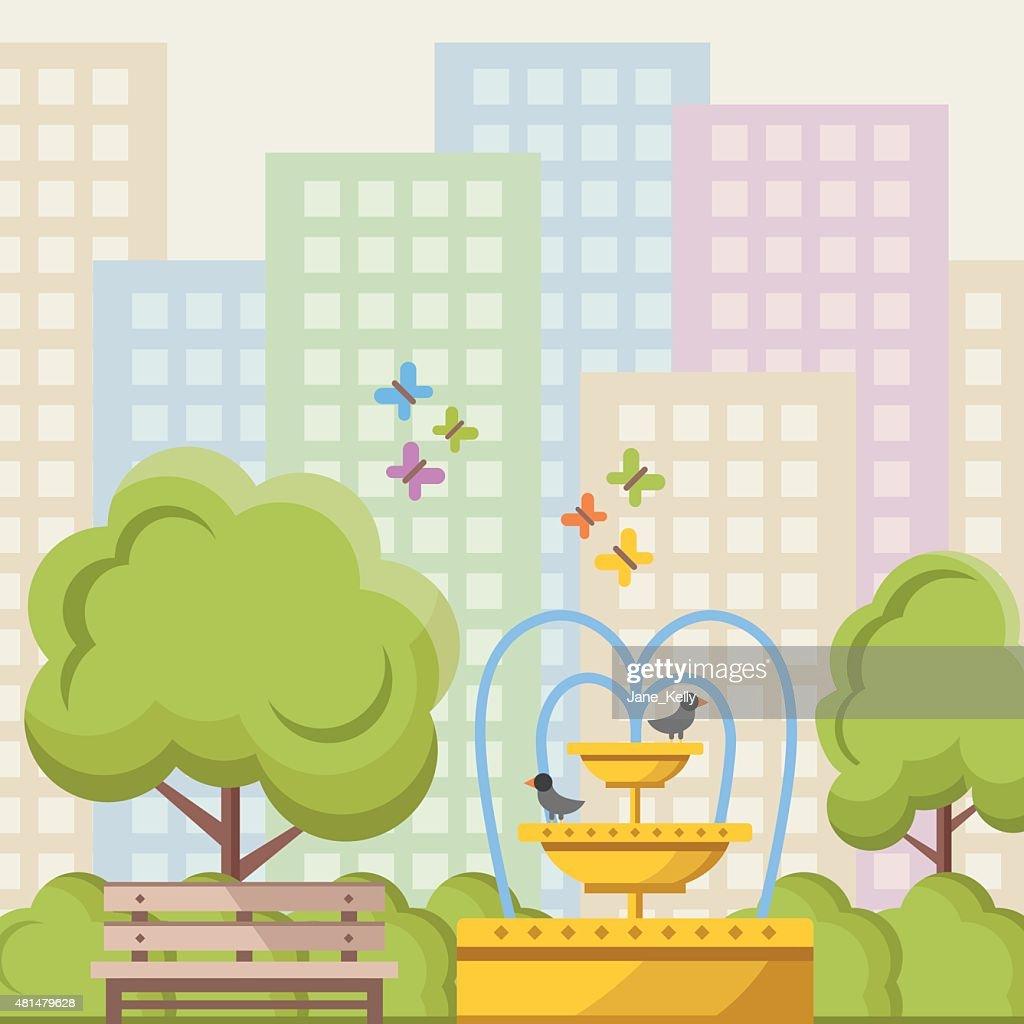 City park flat illustration concept