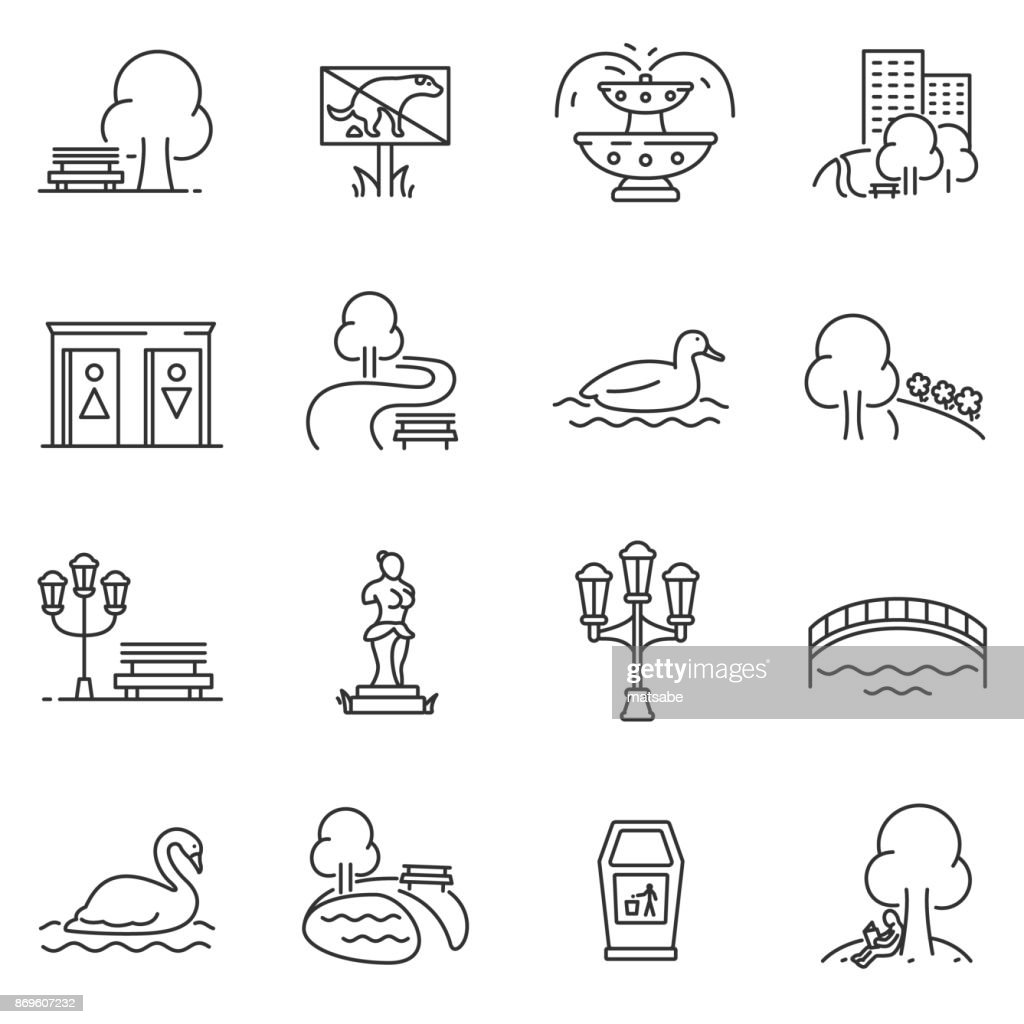 City park icons set. Editable stroke