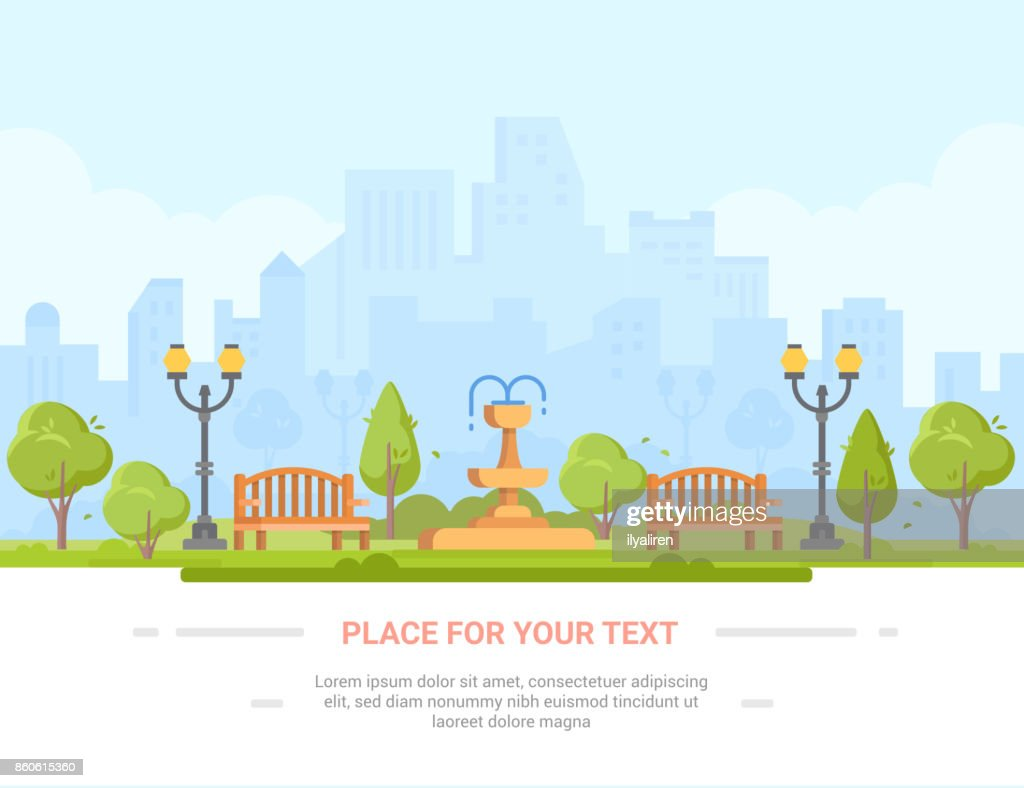 City park - modern vector illustration with place for text
