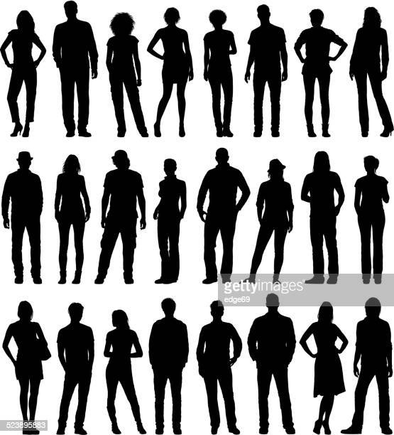 city people set - plain background stock illustrations