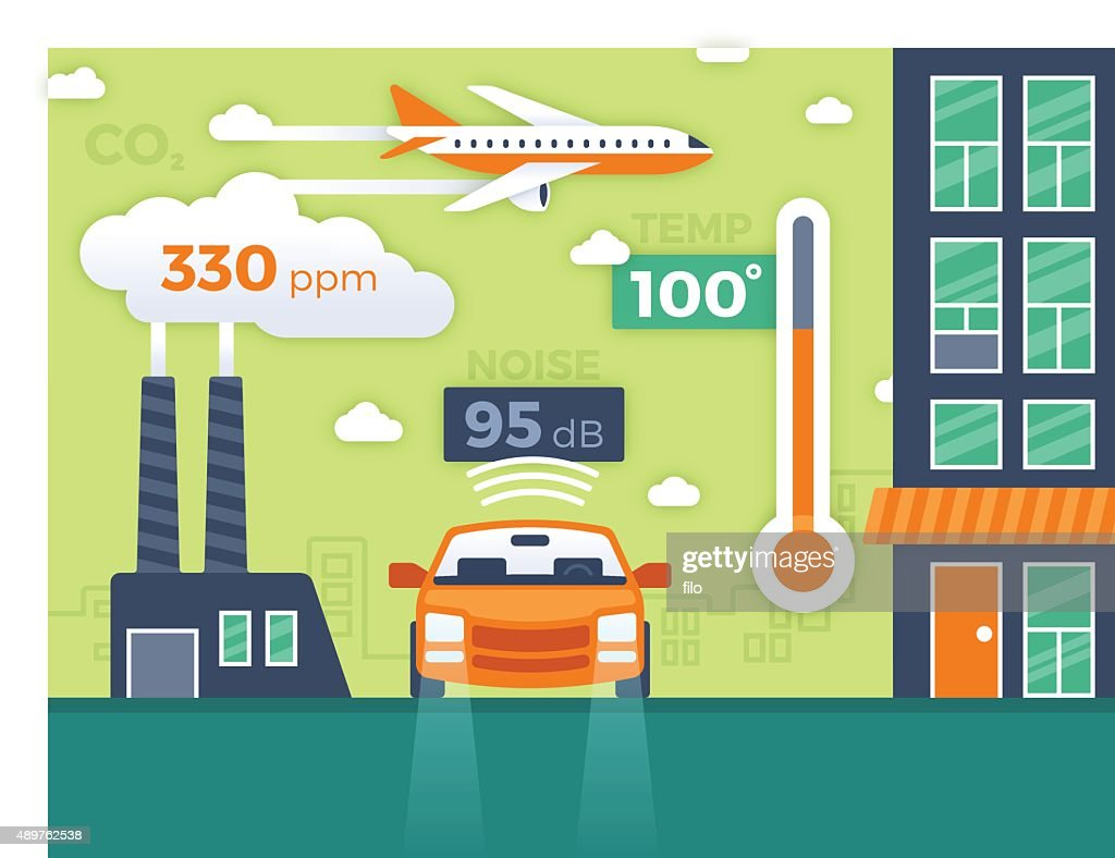 City Pollution and Environmental Data Infographic : stock illustration