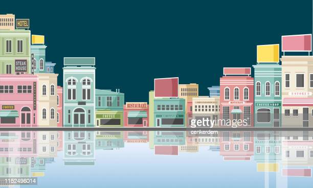 city reflection - town stock illustrations