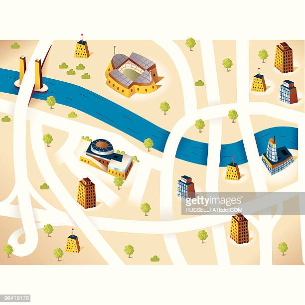 city road map - melbourne stock illustrations