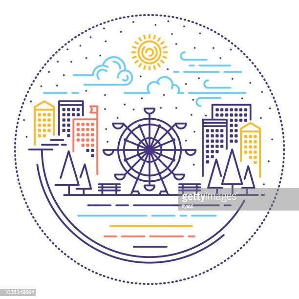 city scene line web banner - ferris wheel stock illustrations, clip art, cartoons, & icons