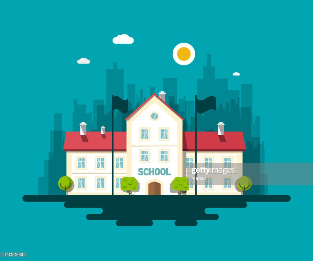 City School Building Vector Flat Design Illustration with Skyscrapers on Background.