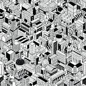 City Seamless Pattern Isometric - Large