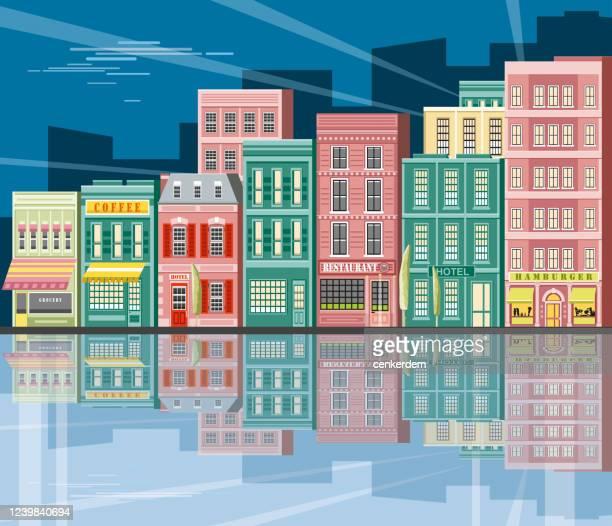 city seaside - urban sprawl stock illustrations