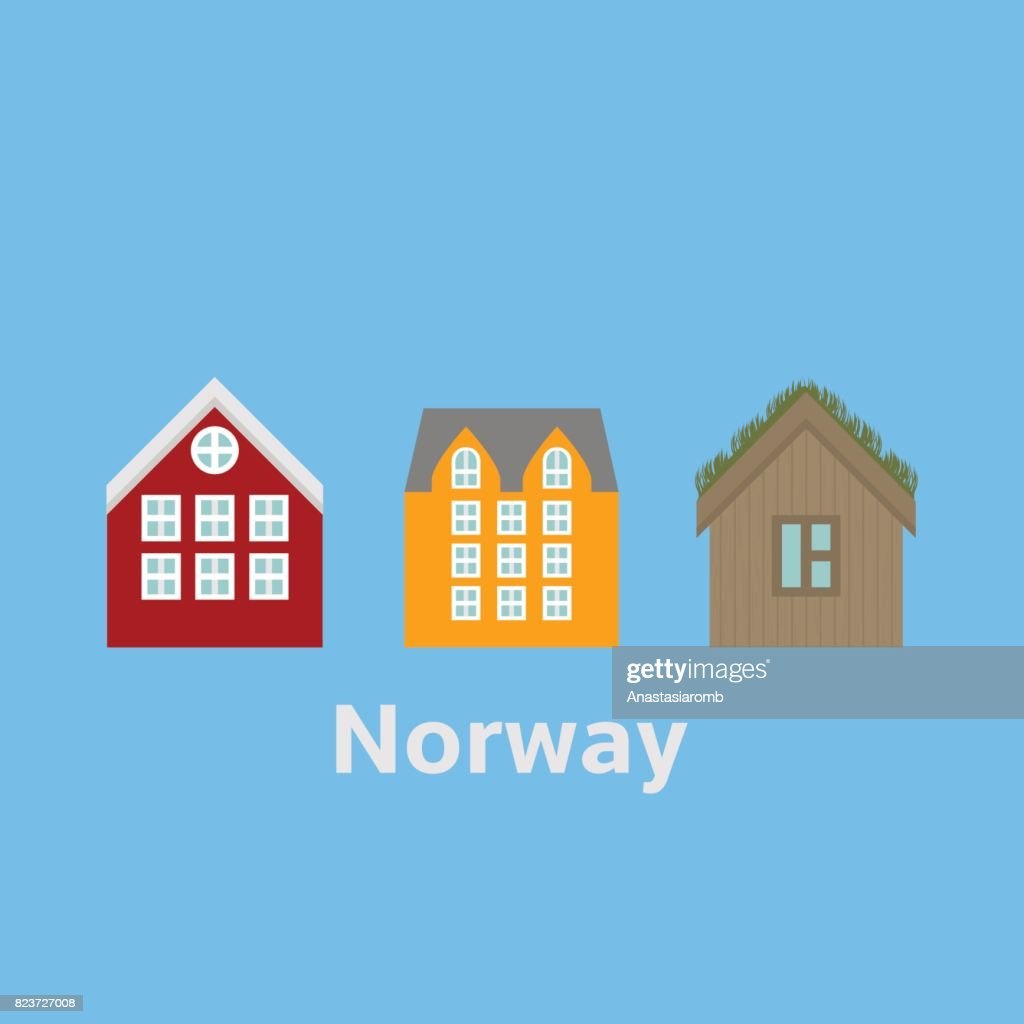 City sights Alesund and Bergen. Norway landmark. Flat travel nature elements