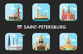 City sights of Saint-Petersburg, Russia. Flat icon set