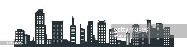 illustrazioni stock, clip art, cartoni animati e icone di tendenza di silhouette della città, silhouette della città con colore nero su sfondo bianco. - grattacielo