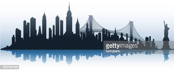 city silhouette - brooklyn bridge stock illustrations, clip art, cartoons, & icons