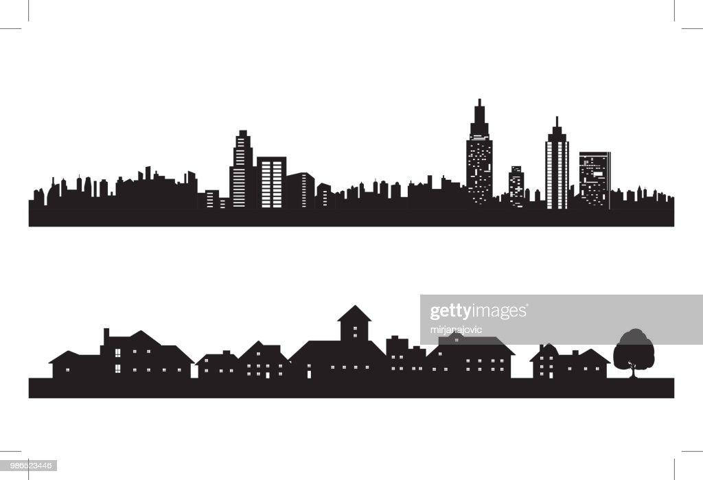 Città silhouette : Illustrazione stock