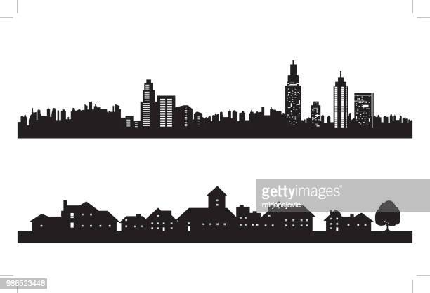 city silhouette - village stock illustrations