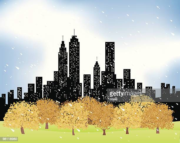 City Skyline and rain,trees,nature at fall,winter illustration