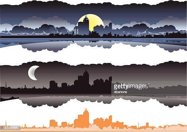 city skyline at dusk/night - indianapolis stock illustrations, clip art, cartoons, & icons