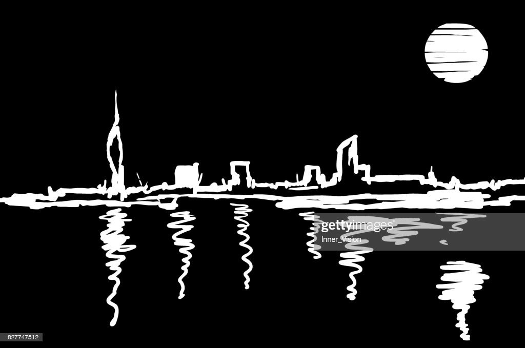 City Skyline at Night - Artistic Representation