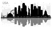 USA City skyline black and white silhouette with Reflections.