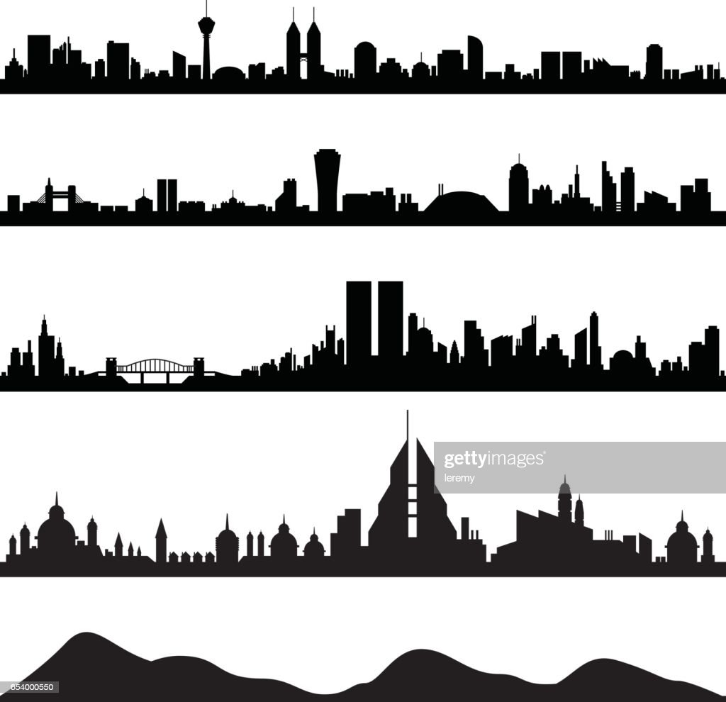 City Skyline Cityscape in Silhouette Vector