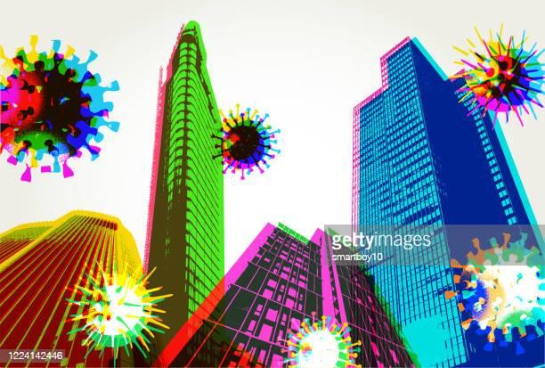 city skyline during covid-19 crisis - avian flu virus stock illustrations