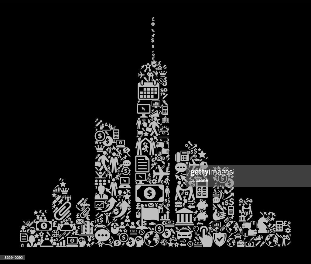 City Skyline Icon Business and Finance Vector Icon Pattern
